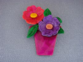 Windowsill Bright Flower Pot Brooch by Lea Stein of Paris (SOLD)